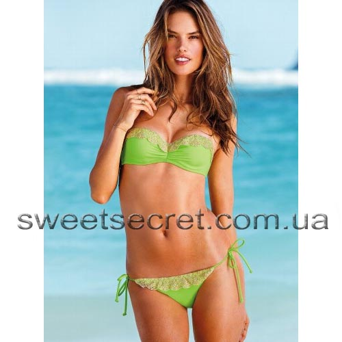 Купальник Виктория Сикрет Victoria's Secret Beach Sexy Madi Lace-trim Push-Up Bandeau Top / Lace-trim String Bottom