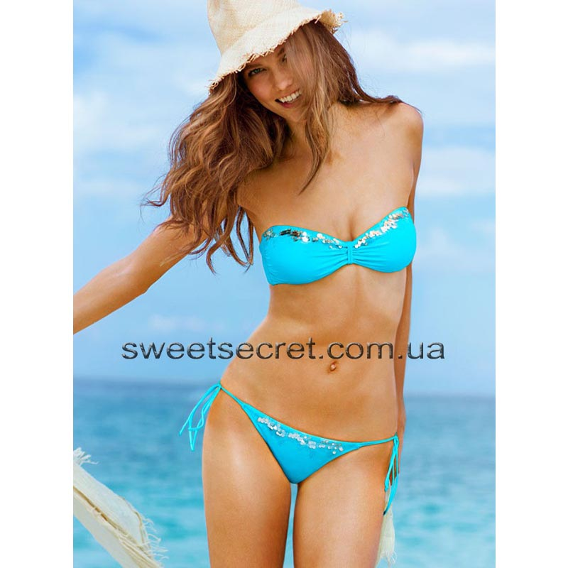 Купальник Виктория Сикрет Victoria's Secret Beach Sexy Sequin Bandeau Top / Sequin String Bottom