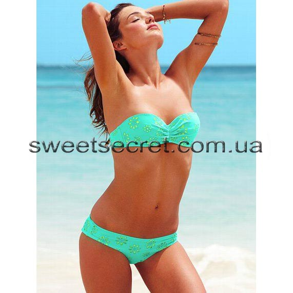 Купальник Виктория Сикрет Victoria's Secret Beach Sexy Madi Eyelet Push-Up Bandeau Top / Eyelet Cheeky Hipkini Bottom