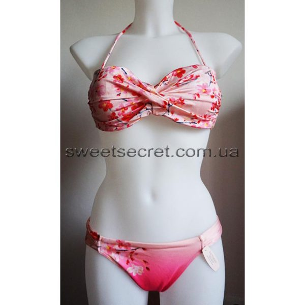 Купальник Виктория Сикрет Victoria's Secret Very Sexy Rio Push-Up Twist Bandeau Top / Side Ruched Low-rise Bikini Bottom